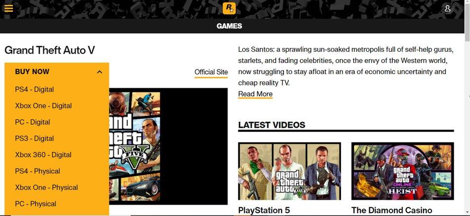 Giao diện trang chủ RockStar Games