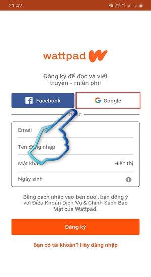 Giao diện đăng ký tài khoản bằng Google