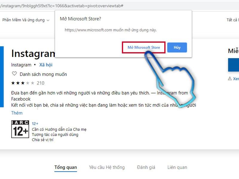 Thao tác khởi động Microsoft Store