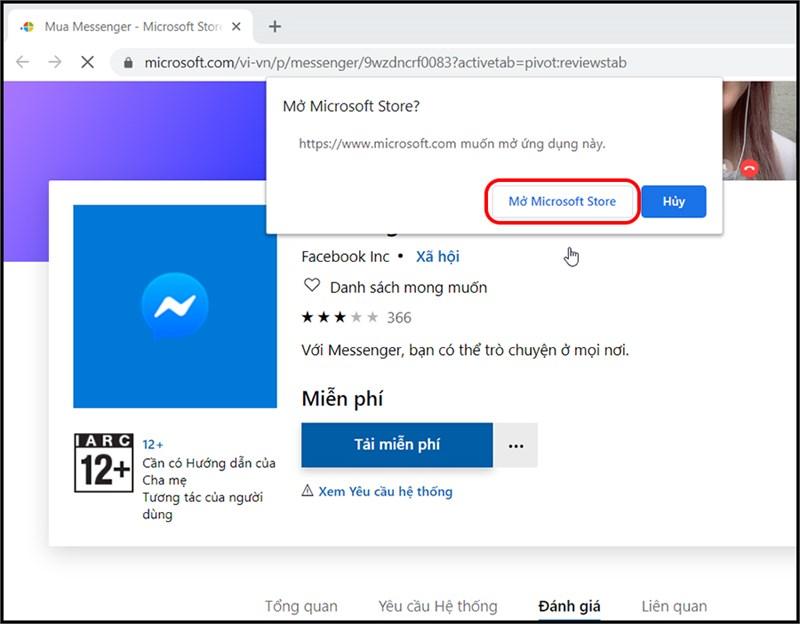 Giao diện tải ứng dụng bằng Microsoft Store