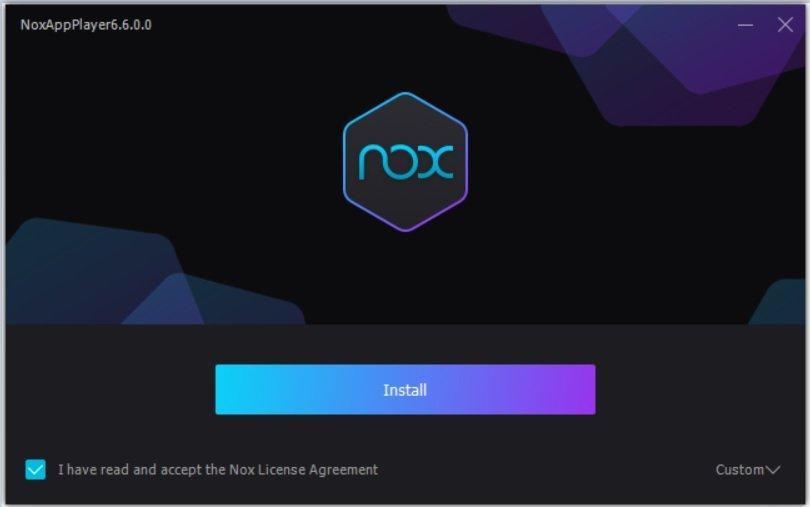 Giao diện cài đặt Nox App Player