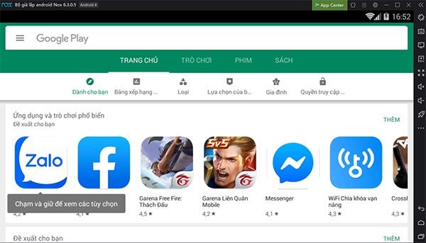 Truy cập Google Play để tải ứng dụng trong Nox